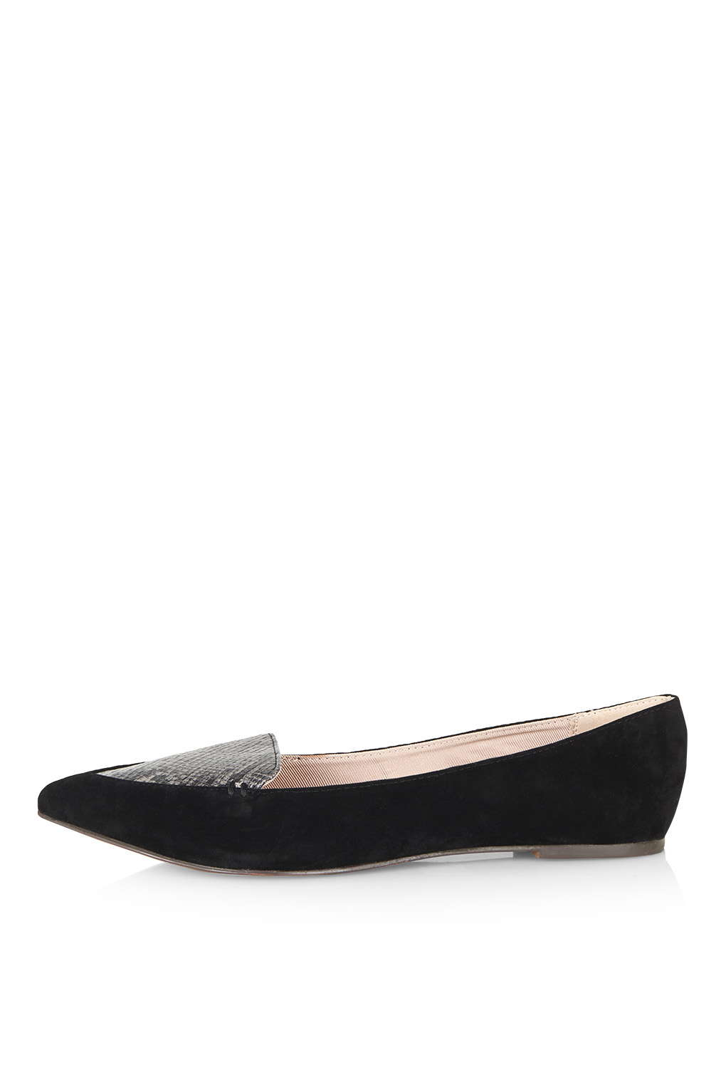 topshop snake print flat shoes in black lyst