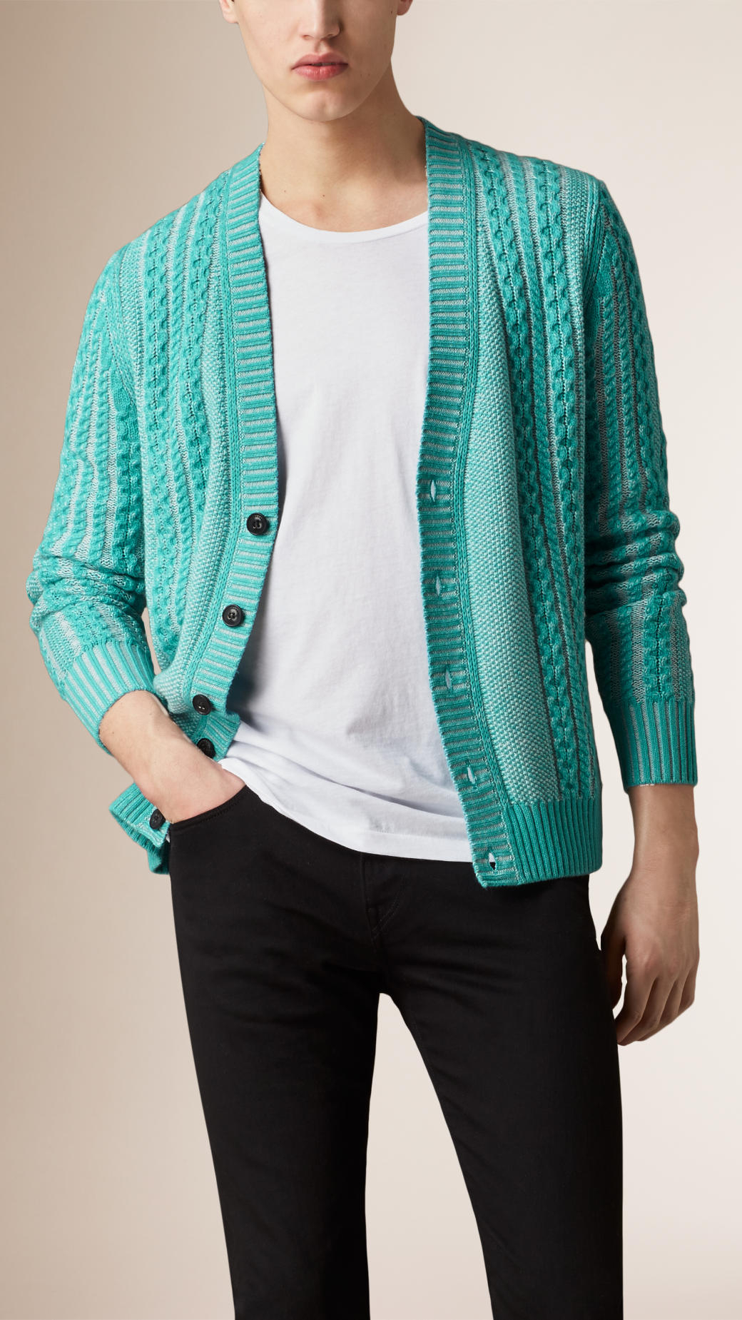 Burberry Cable Knit Cotton Cashmere Cardigan in Green for Men | Lyst