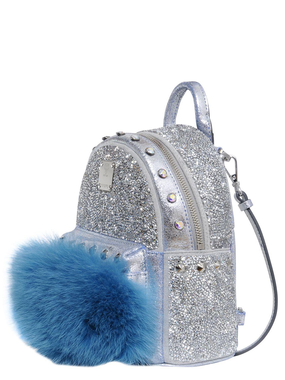 Mcm Swarovski Crystals Bebe Boo Backpack In Metallic Lyst