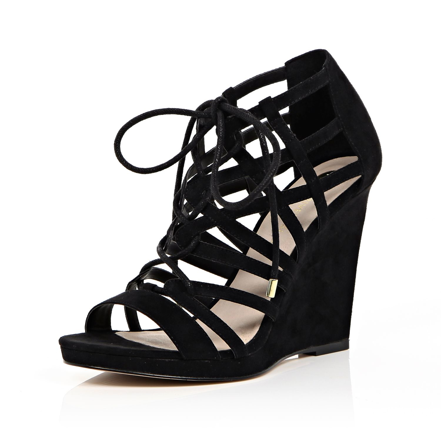 b5cd8a3fac8 River Island Black Lace-up Caged Wedge Heels in Black - Lyst