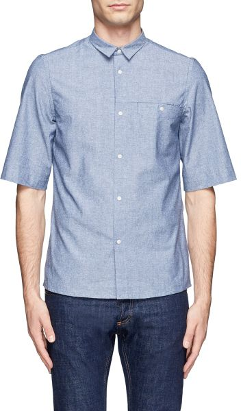 Mauro grifoni snap button chambray shirt in blue for men for Mens shirts with snaps instead of buttons
