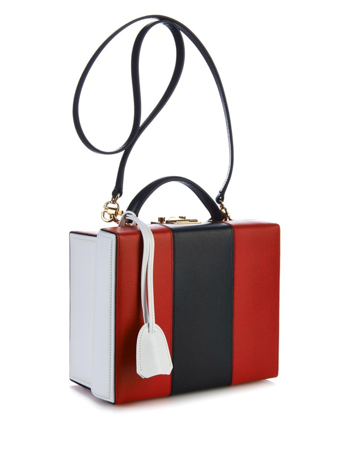 Mark cross Grace Tri-Colour Leather Box Bag in Red (RED MULTI) | Lyst