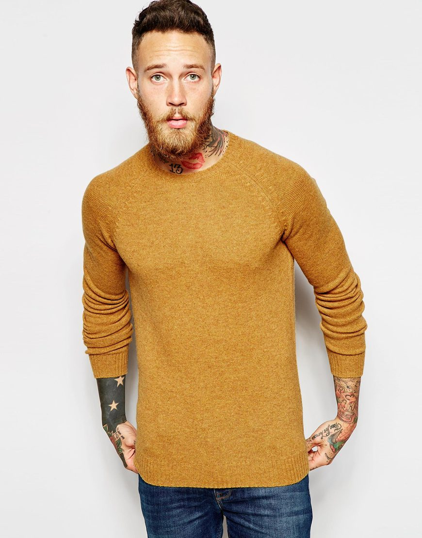 Asos Lambswool Rich Crew Neck Jumper in Yellow for Men | Lyst