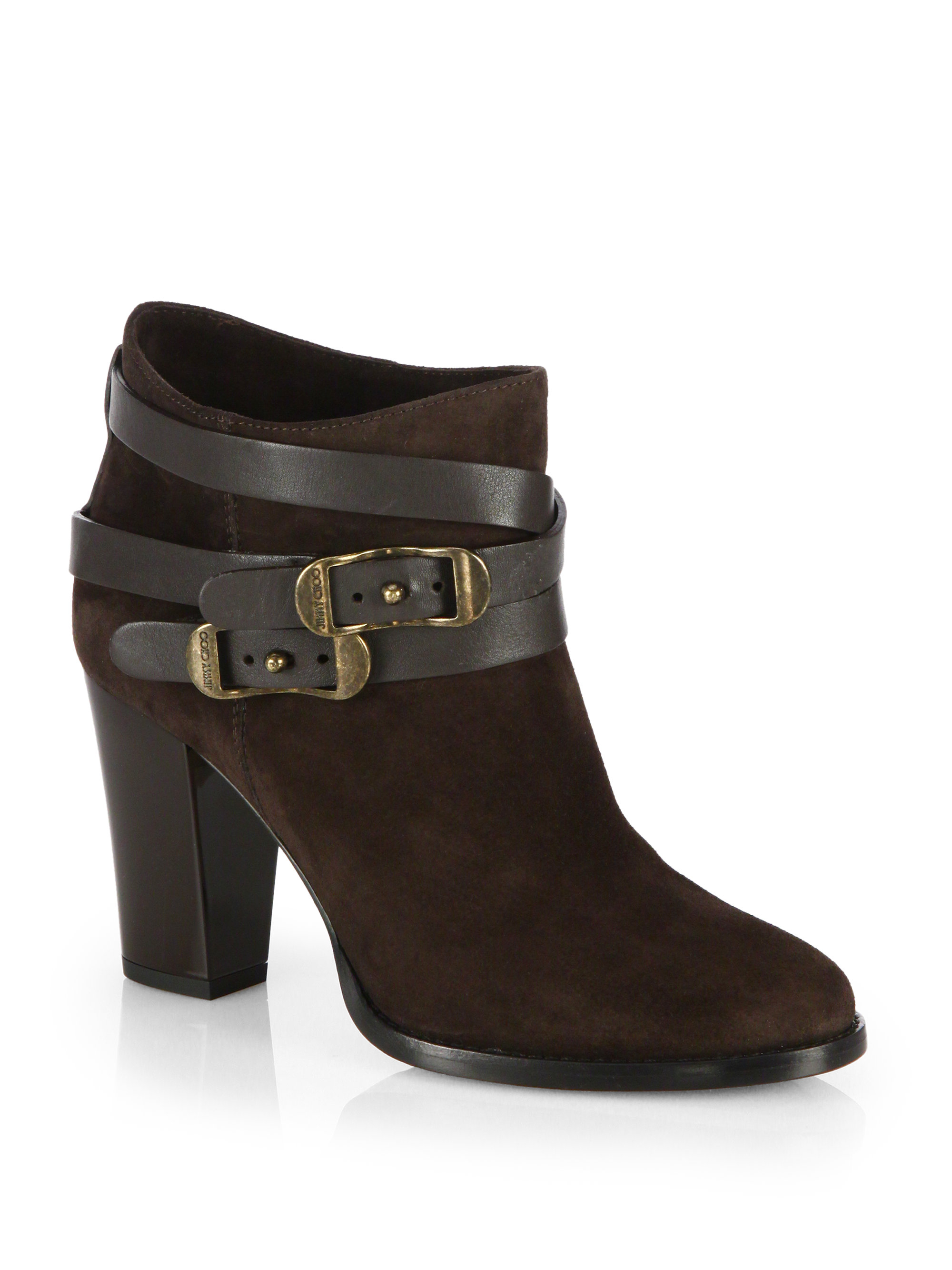 Lyst - Jimmy Choo Melba Suede Buckle Ankle Boots in Black