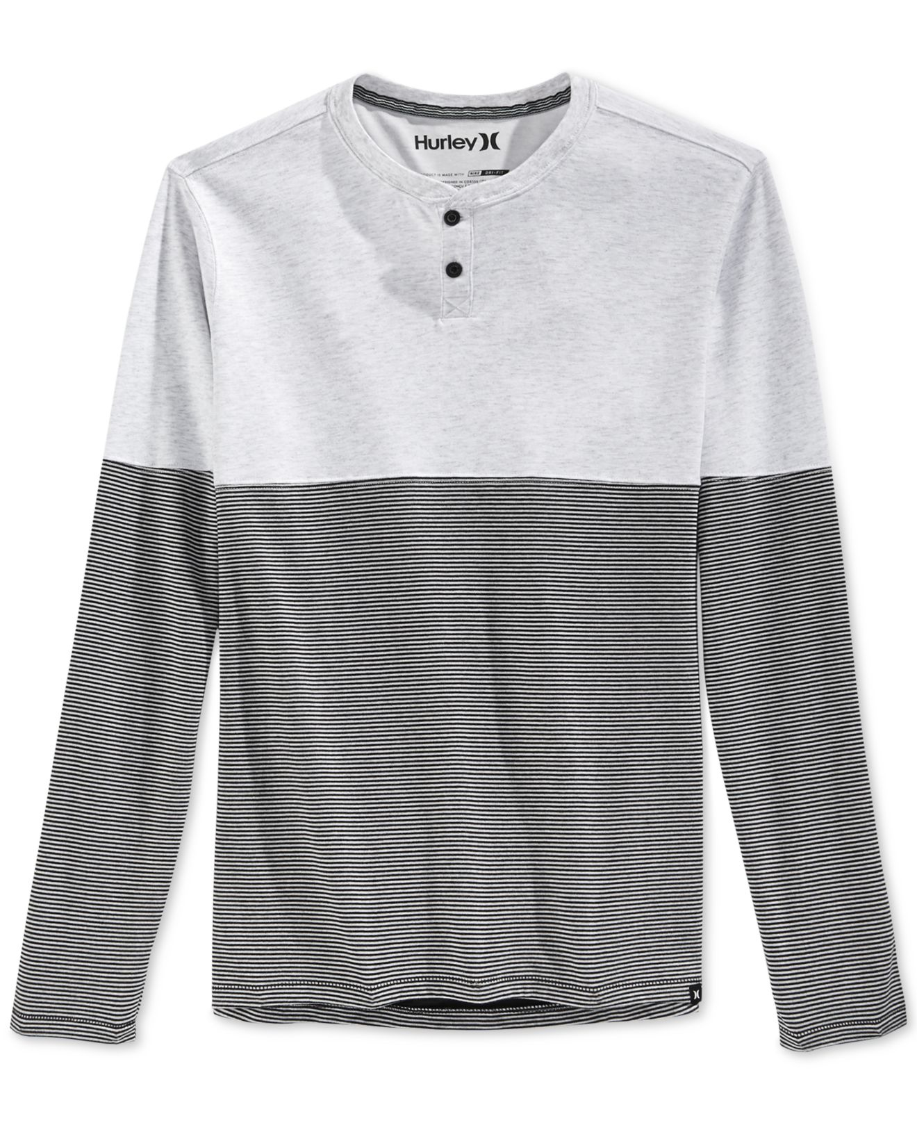 Hurley dri fit colorblock long sleeve henley in black for for Under armour dri fit long sleeve shirts