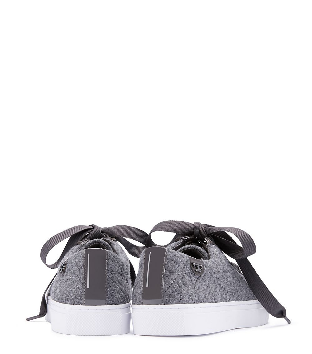 5d996abbe864 Lyst - Tory Burch Marion Quilted Fabric Sneaker in Gray