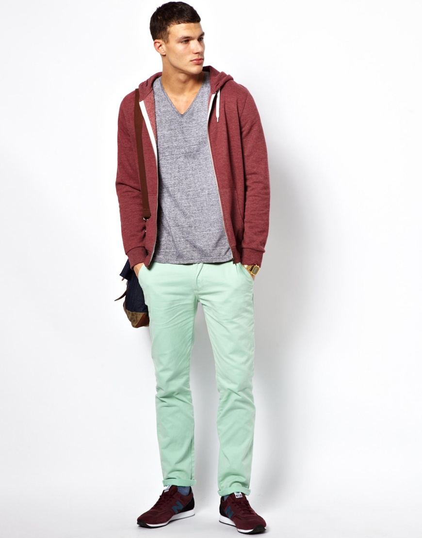 Bellfield Slim Fit Chino in Green for Men | Lyst