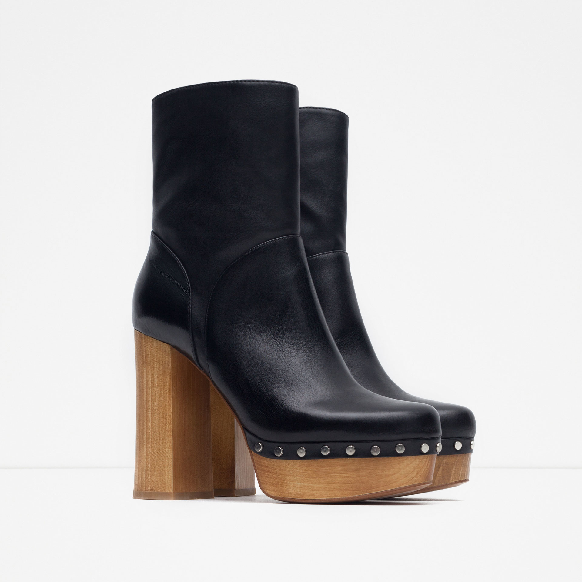 zara high heel leather ankle boots with studs in black lyst