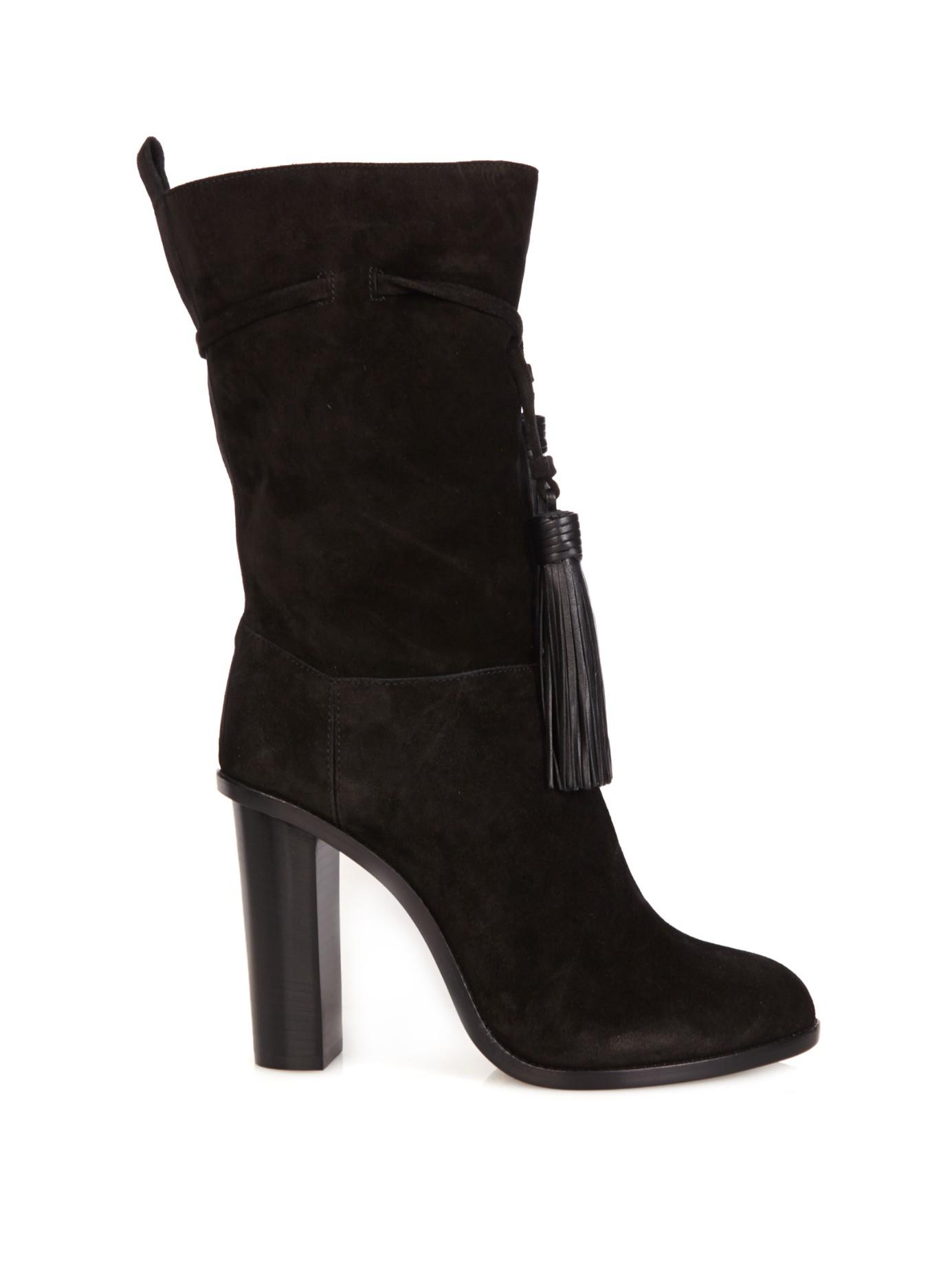 lanvin tassel tie slouchy suede boots in black lyst