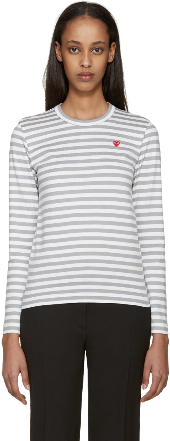 Play comme des gar ons white grey striped heart patch t for Grey striped t shirt