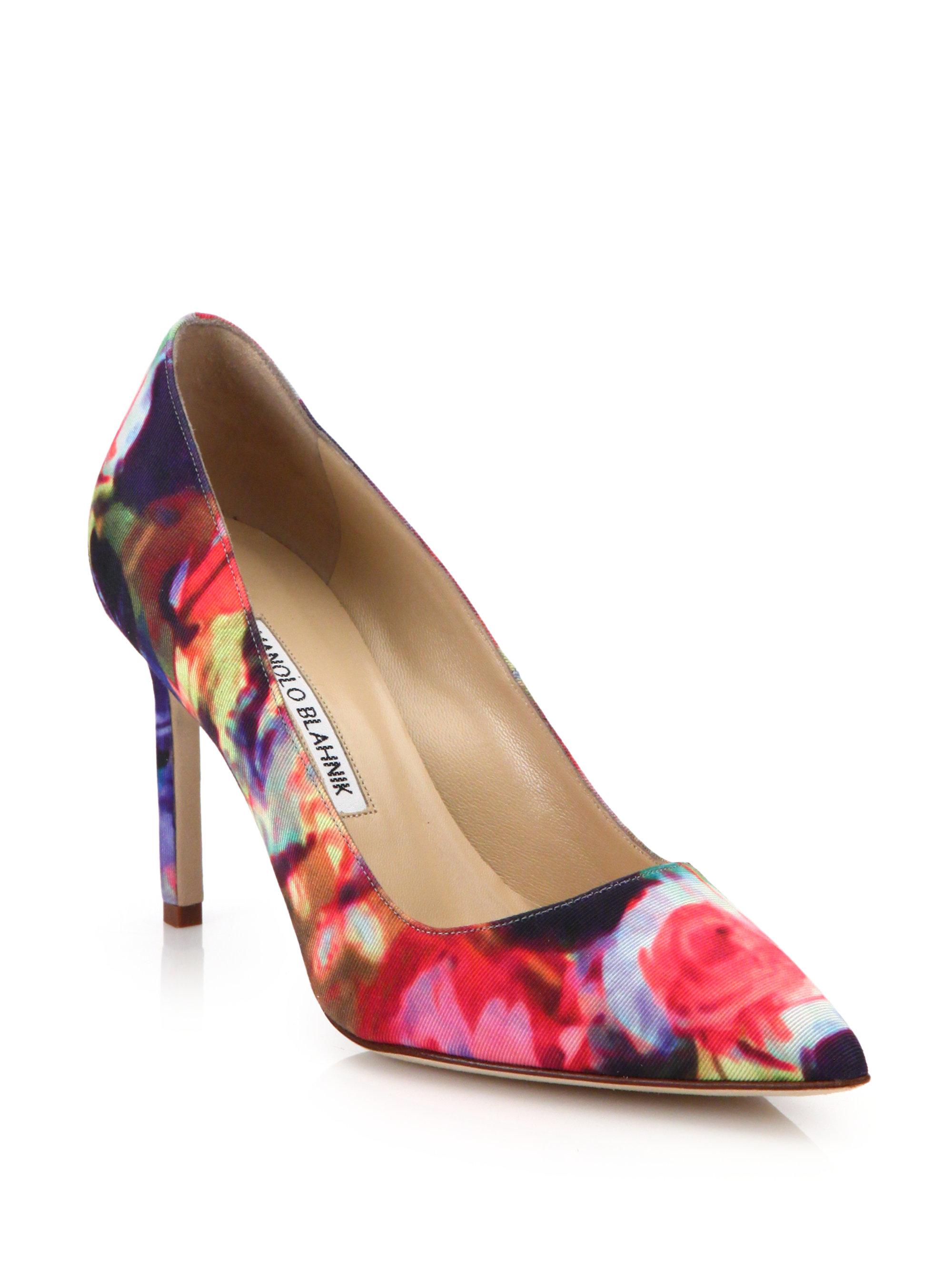 Manolo blahnik Bb Floral-print Point-toe Pumps in Purple ...