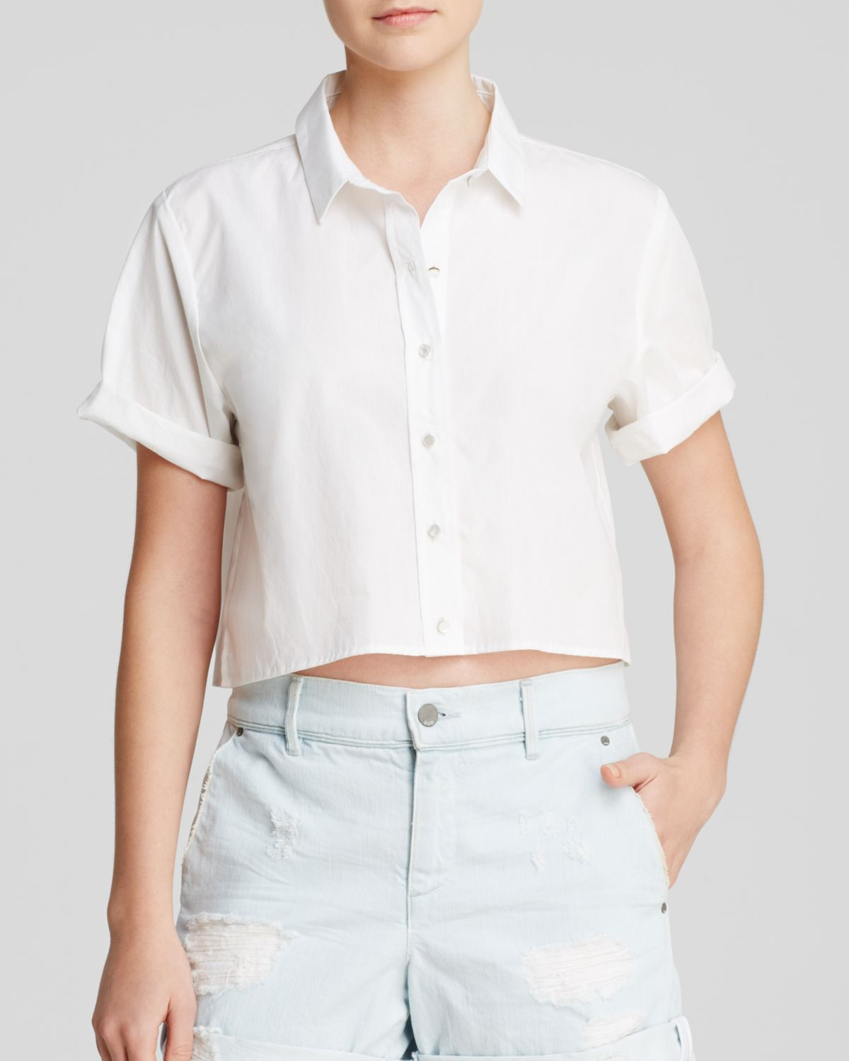 Ace Monroe Crop Top Shirt in White | Lyst