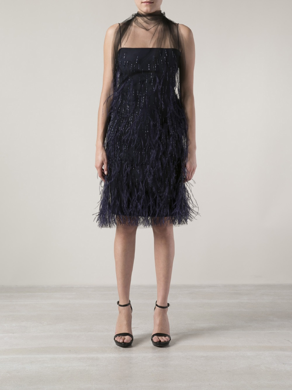 Lyst Wes Gordon Feather Dress In Blue