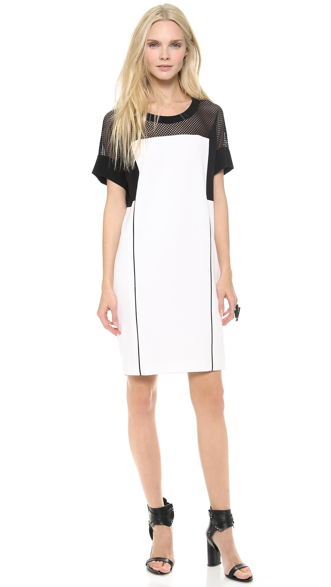 Dkny Colorblock Short Sleeve Shift Dress In White Lyst