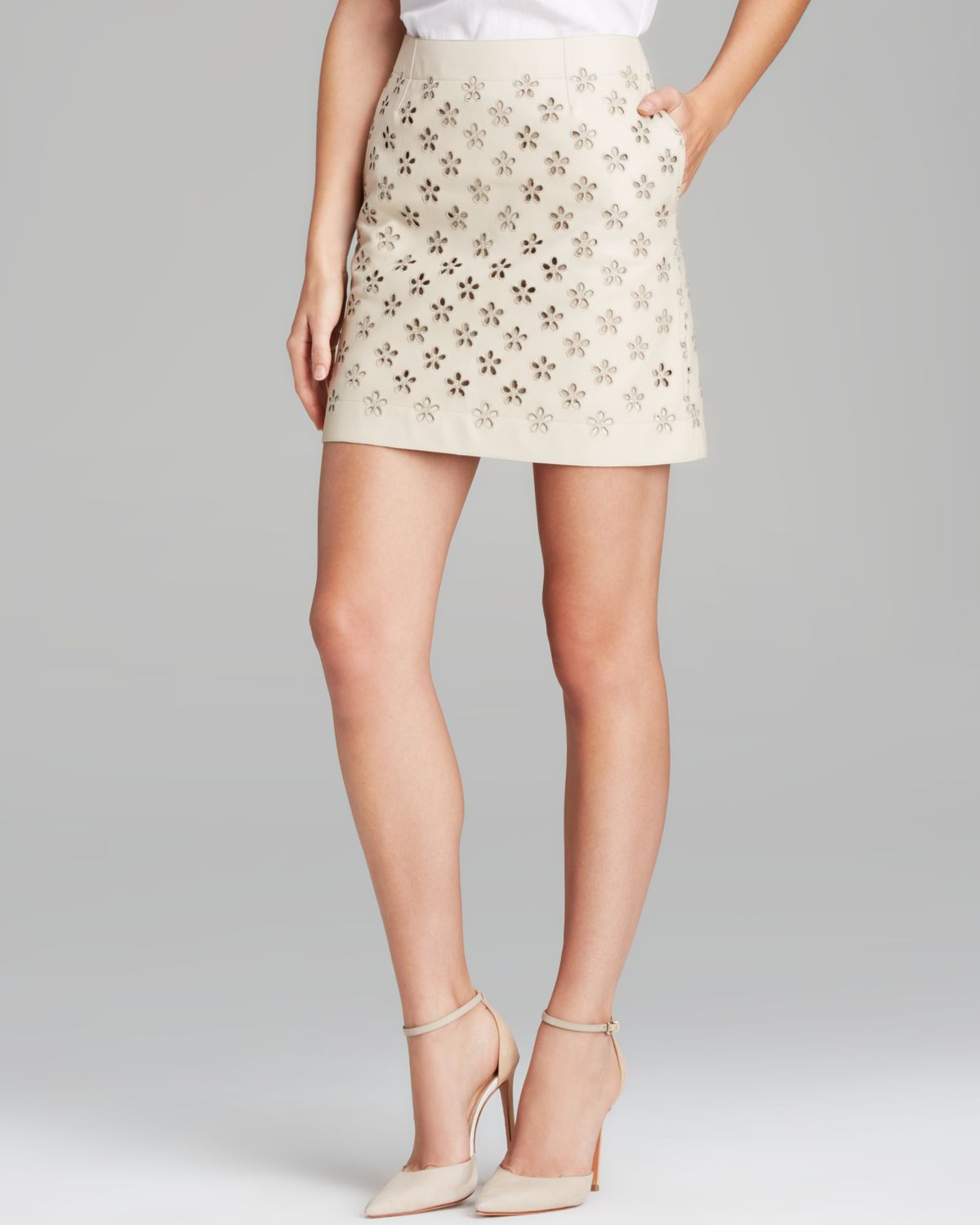 Burberry Brit Laser Cut Flower Mini Skirt in Yellow | Lyst