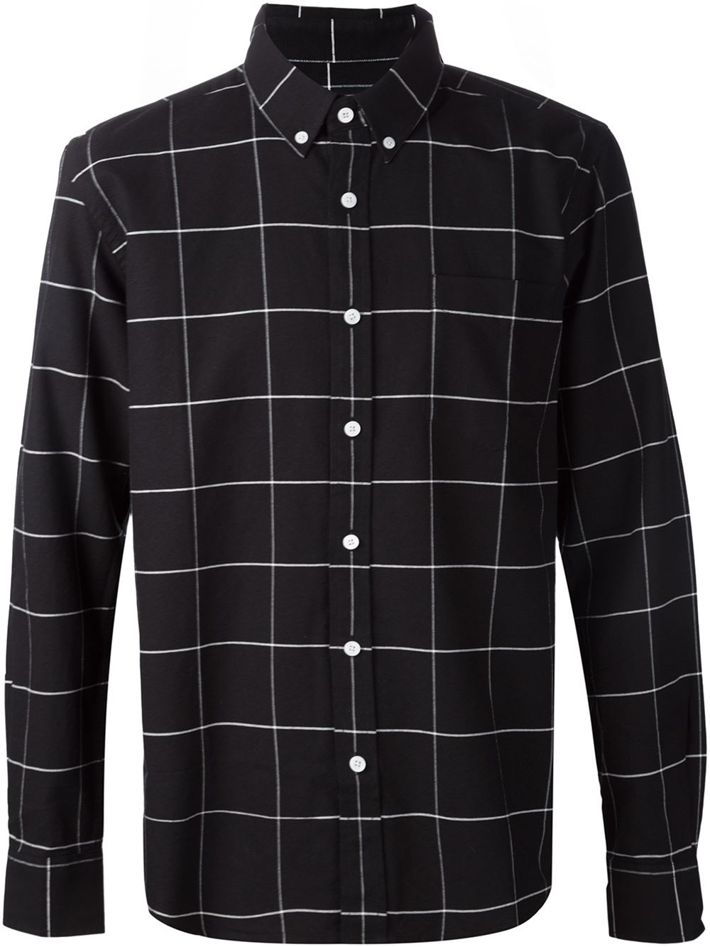 Saturdays nyc Woven Grid Shirt in Black for Men | Lyst