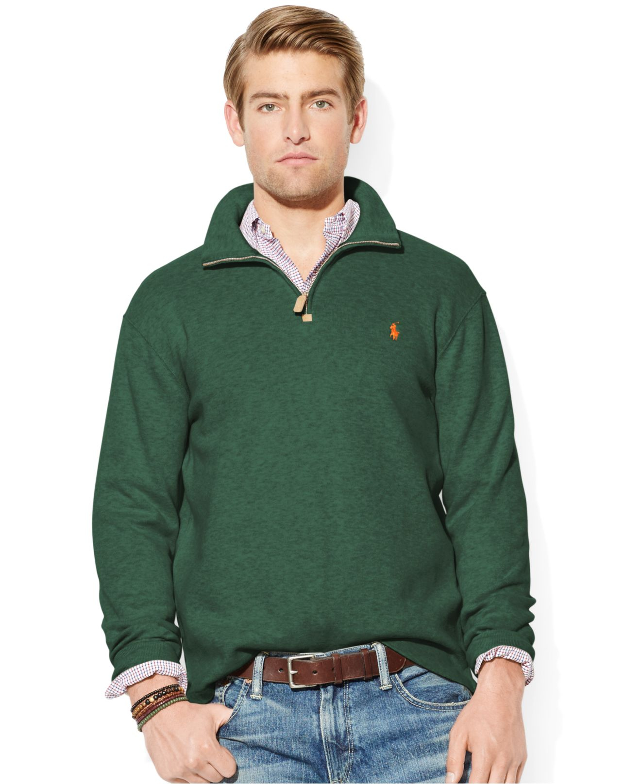 b54f0d766 ... netherlands lyst polo ralph lauren french rib half zip pullover sweater  in caec4 a965d