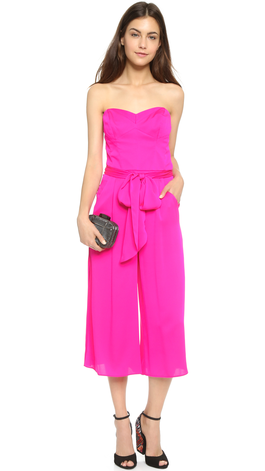 9f738c5c9c6e Lyst - MILLY Strapless Culotte Jumpsuit - Fluo Pink in Pink