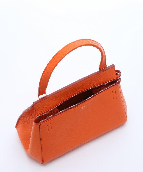 celine orange leather handbag edge