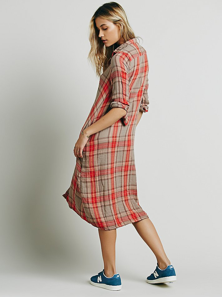 Free People Plaid Maxi In Red Lyst