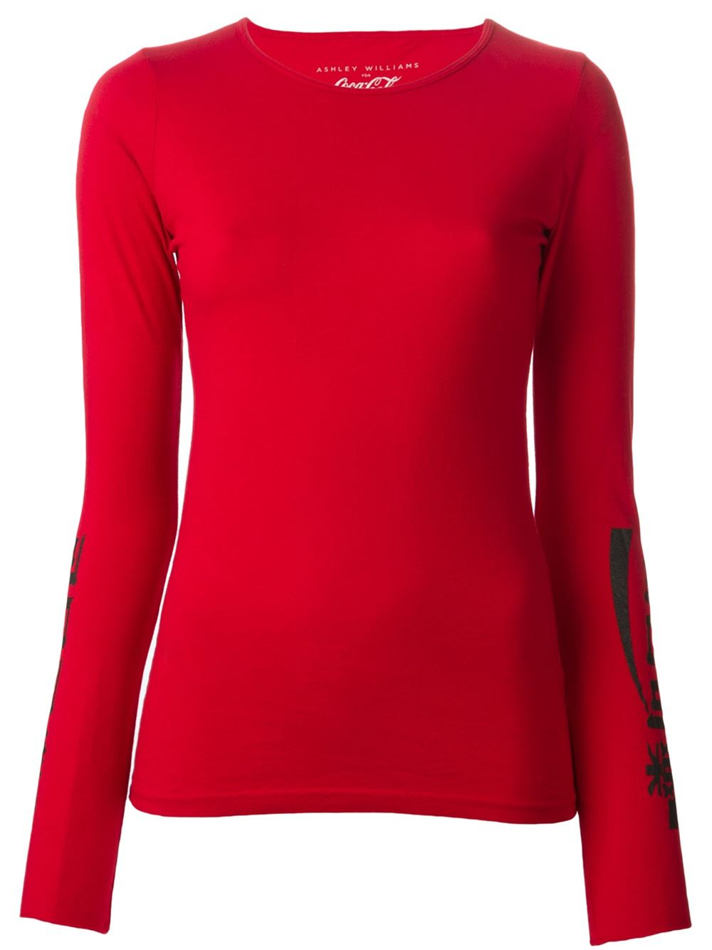 Ashley williams printed long sleeve t shirt in red lyst for Long sleeve printed t shirts