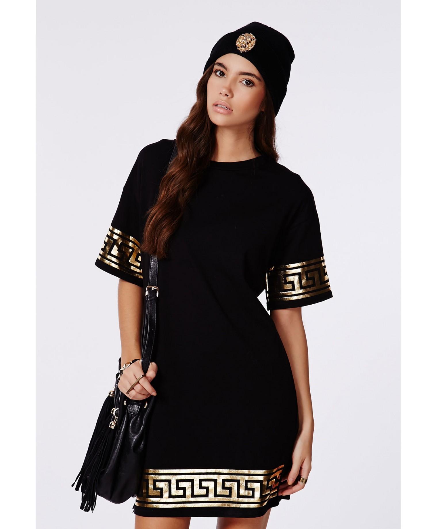 20b09142868a Black And Gold T Shirt Dress - DREAMWORKS