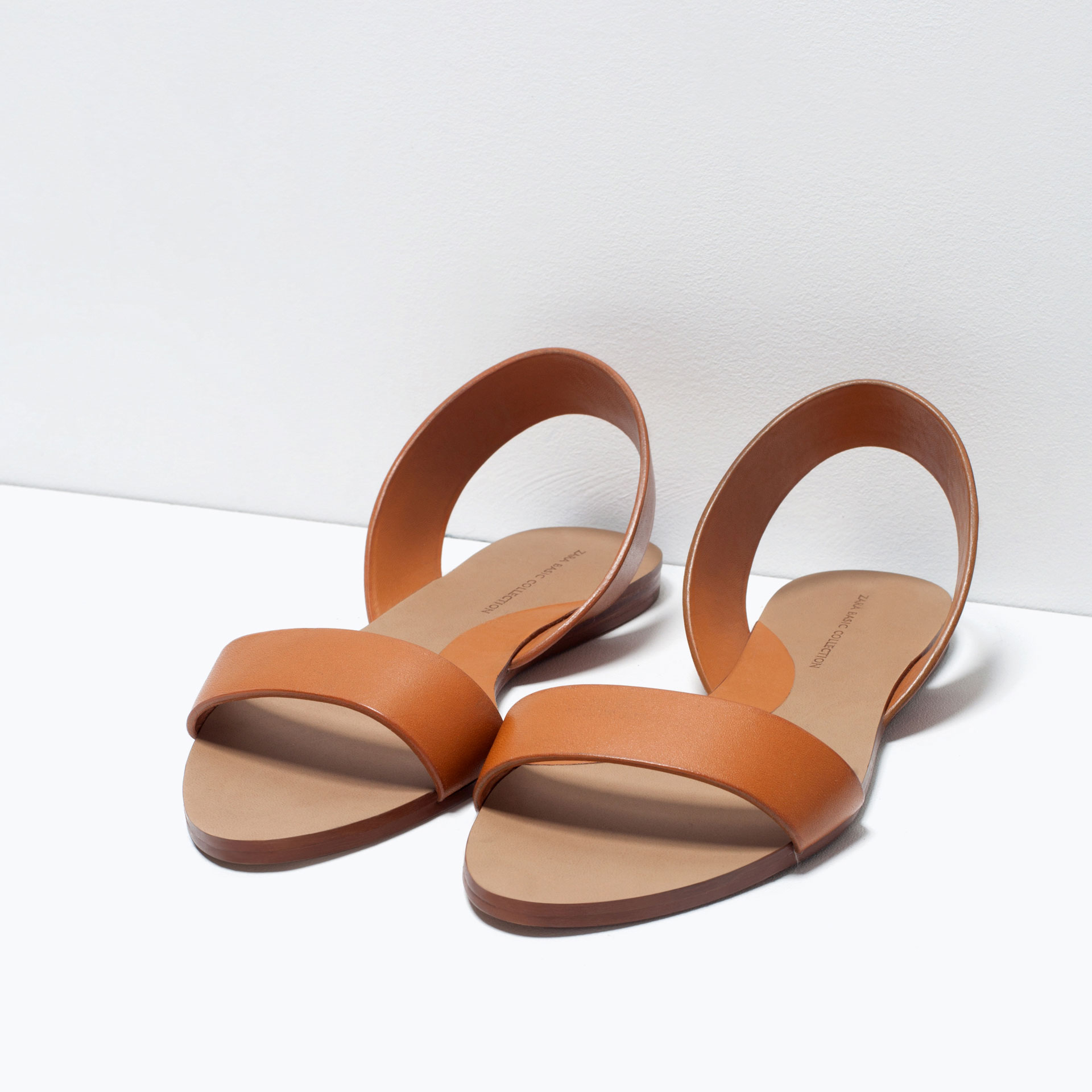 Zara Flat Leather Sandals Flat Leather Sandals In Brown Lyst