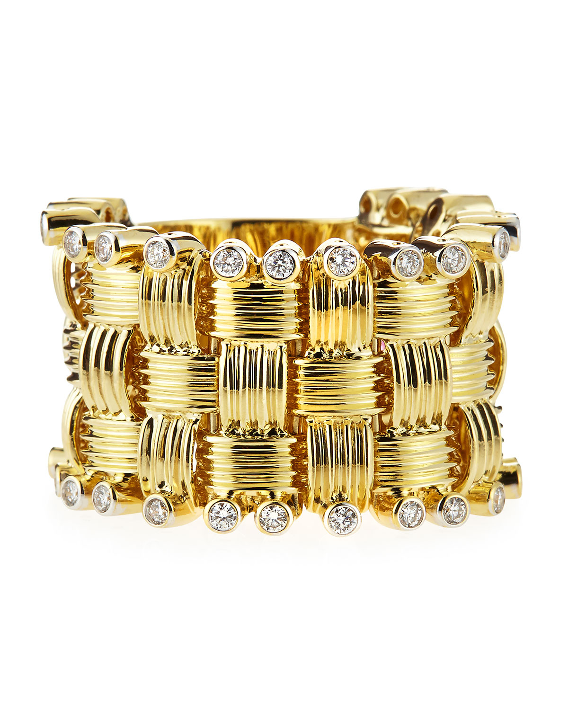 Basket Weaving Edging : Lyst roberto coin k basket weave diamond edge ring