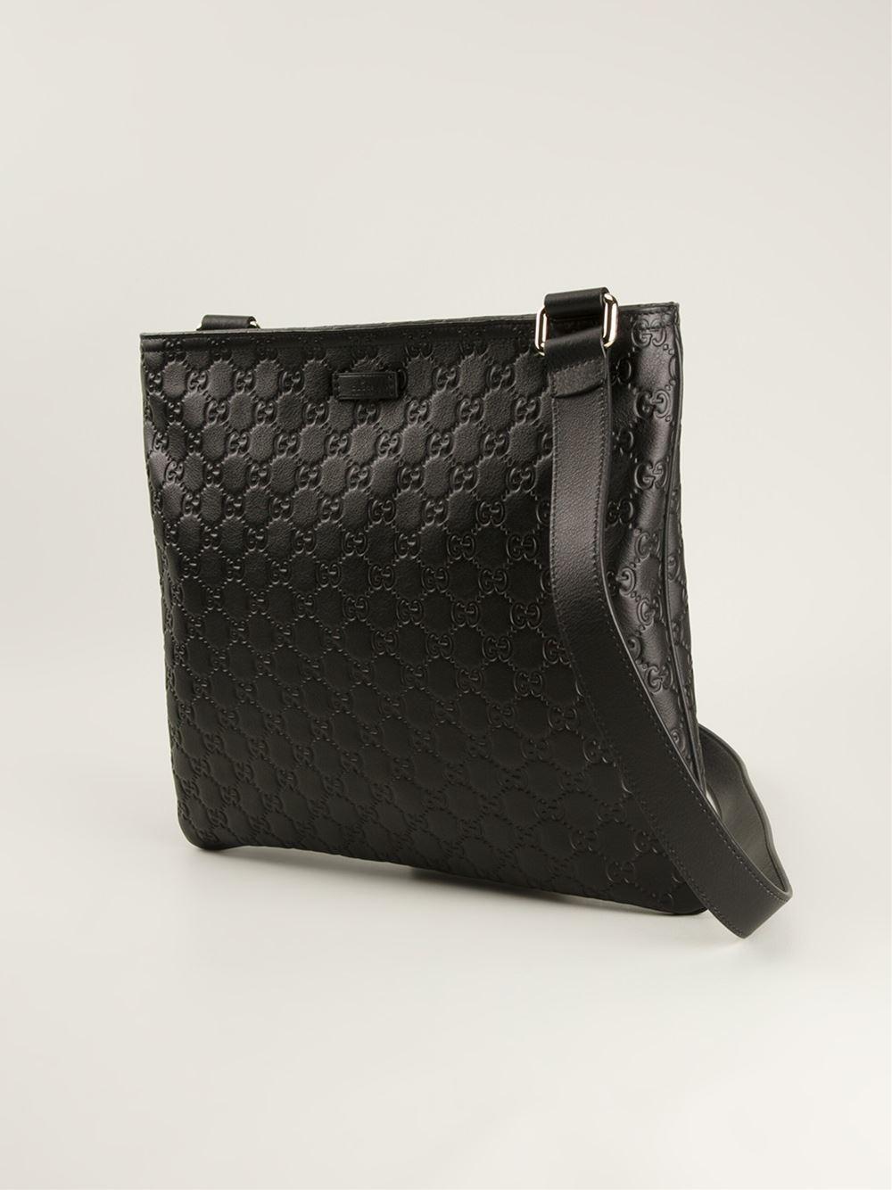 gucci monogram messenger bag in black for men lyst. Black Bedroom Furniture Sets. Home Design Ideas