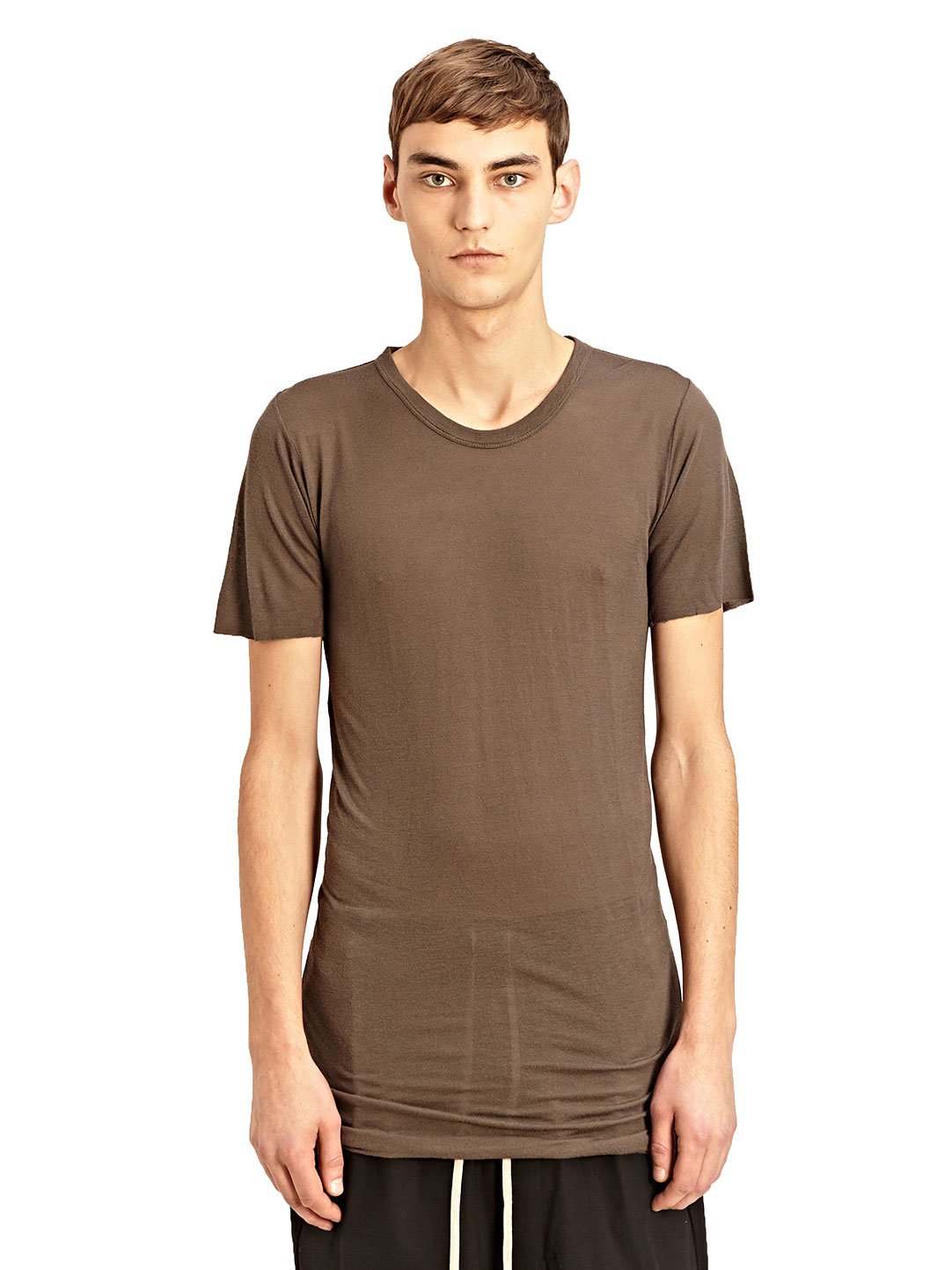 Lyst rick owens mens basic short sleeved t shirt in for Black brown mens shirts