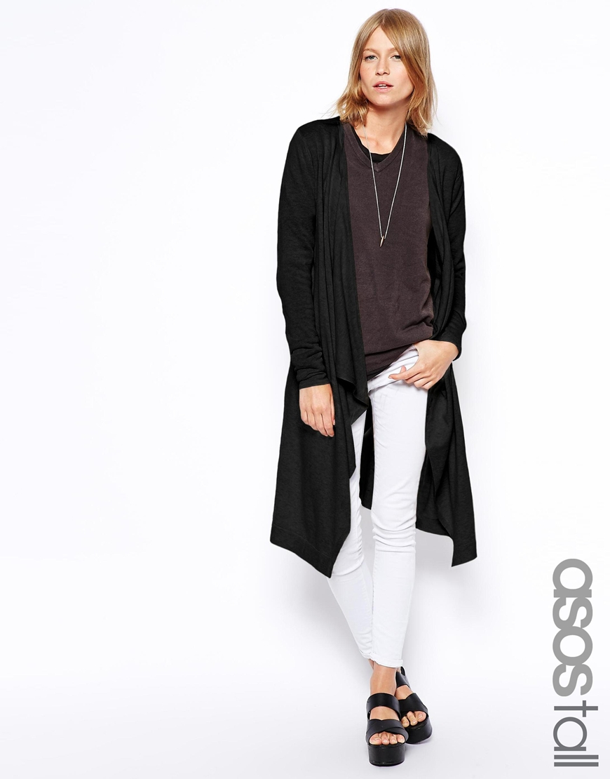 Asos Longline Waterfall Cardigan in Black | Lyst