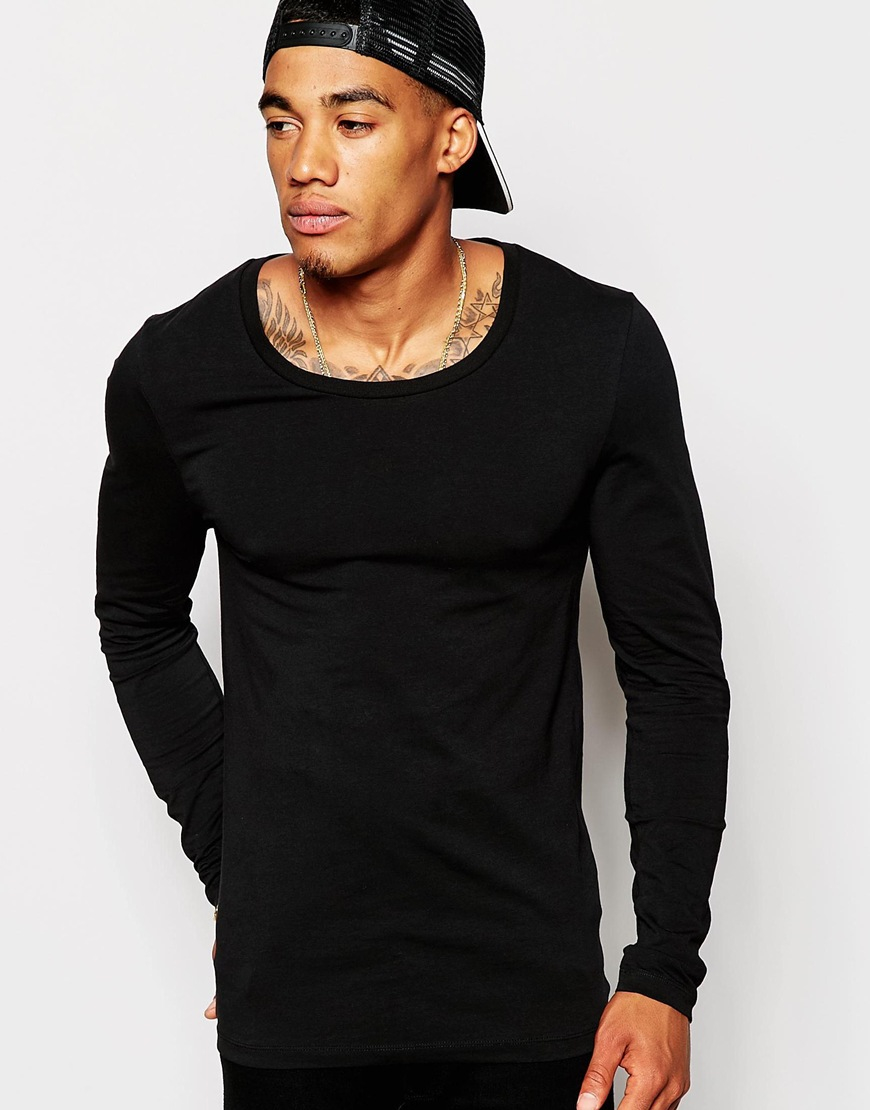 Lyst asos muscle fit long sleeve t shirt with scoop neck for Long sleeve fitted tee shirt
