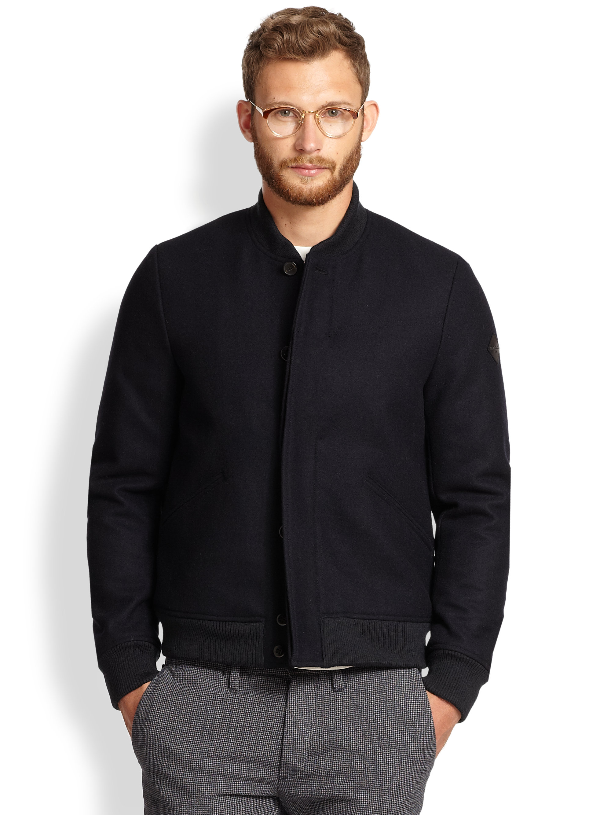 Paul smith Wool Bomber Jacket in Blue for Men | Lyst
