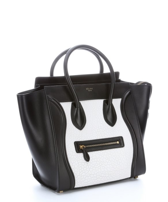 celine black leather handbag trapeze