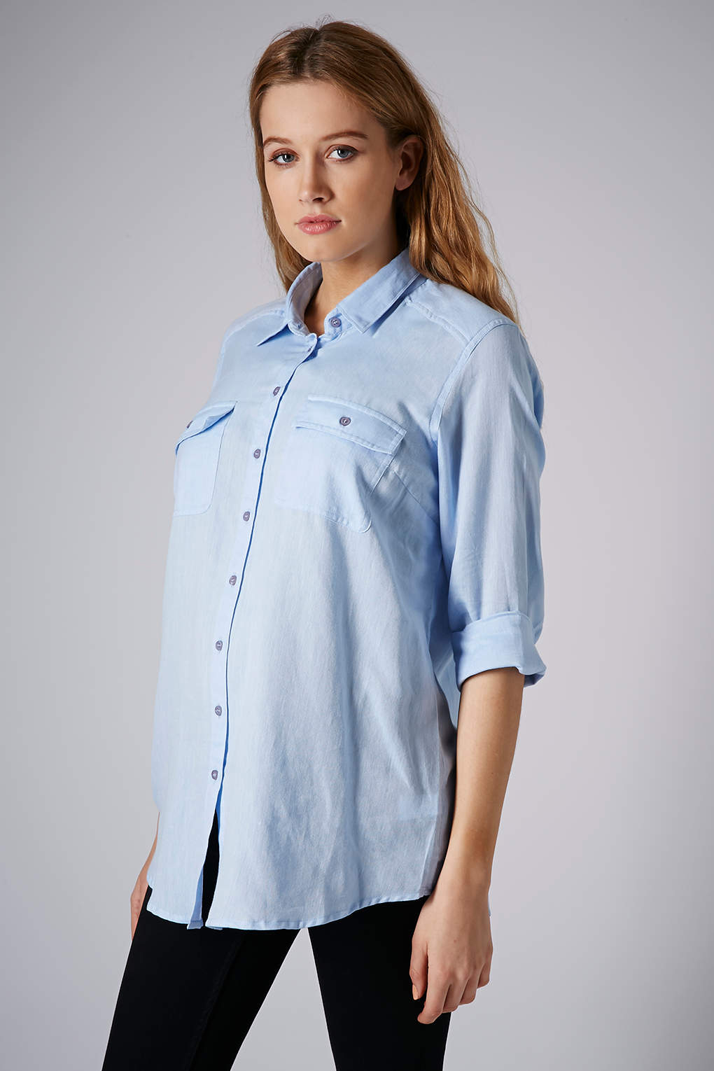 Lyst topshop maternity chambray shirt in blue for Womens denim shirts topshop