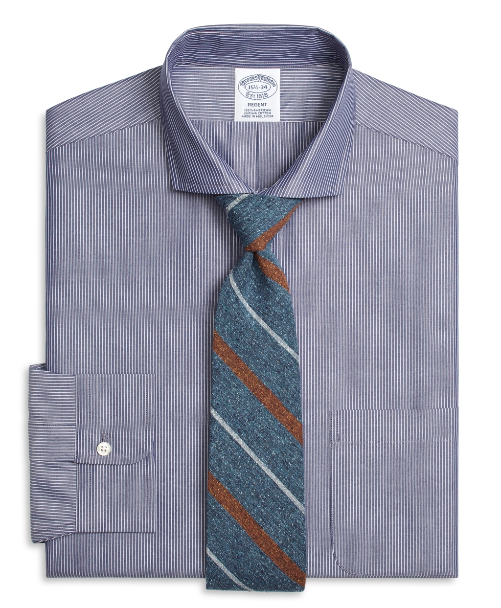 Lyst brooks brothers regent fit chambray pinstripe dress for Brooks brothers dress shirt fit