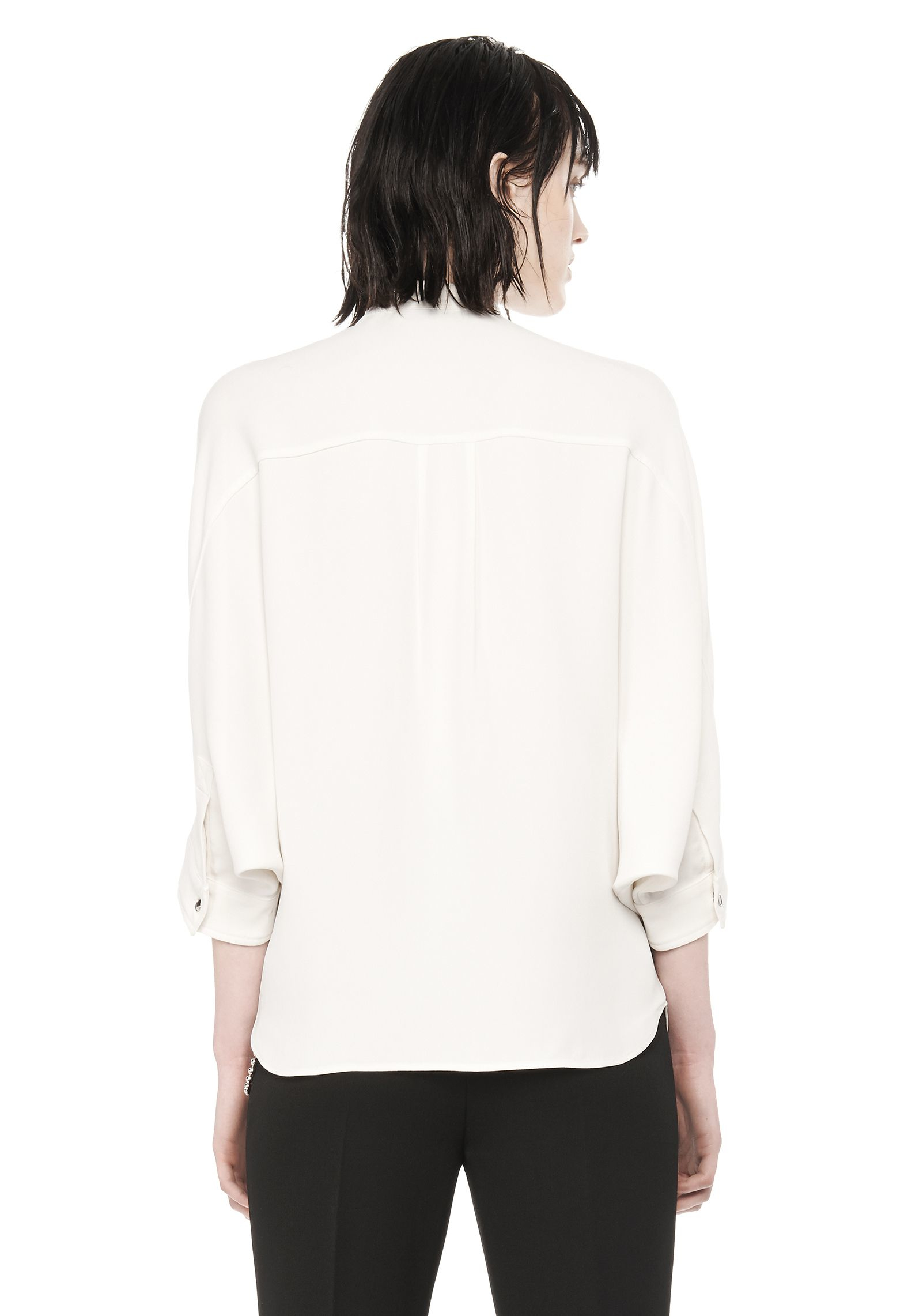 Alexander wang long sleeve top with zip pockets in white for Adam lippes women s long sleeve vee t shirt
