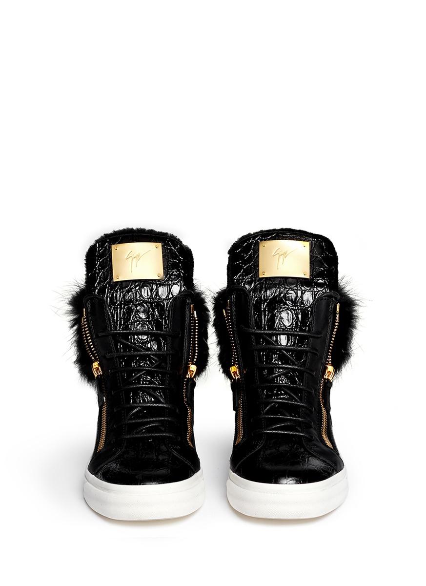 a47bf1178454d6 Lyst - Giuseppe Zanotti  london  Croc-embossed Fur Trim Sneakers in ...