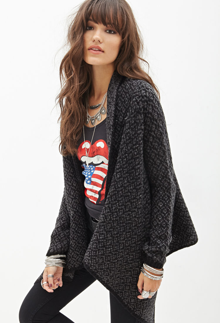 Forever 21 Two-tone Knit Cardigan in Black | Lyst