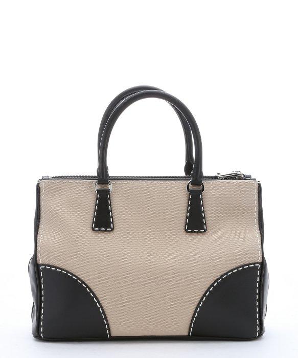 Prada Khaki Canvas And Black Leather Convertible Top Handle Bag in ...