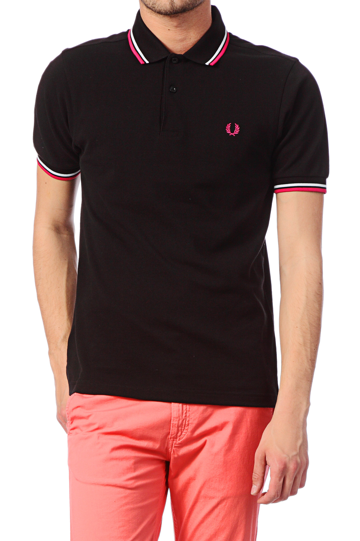 fred perry polo shirt slim fit twin tipped shirt in black. Black Bedroom Furniture Sets. Home Design Ideas