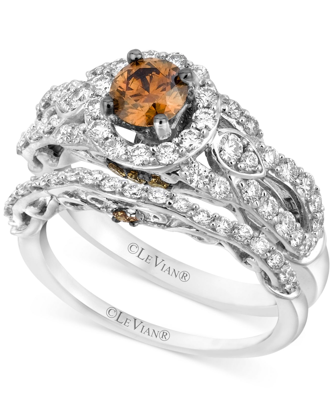 Le vian Chocolate Diamond 1 12 Ct Tw Engagement Ring Set In