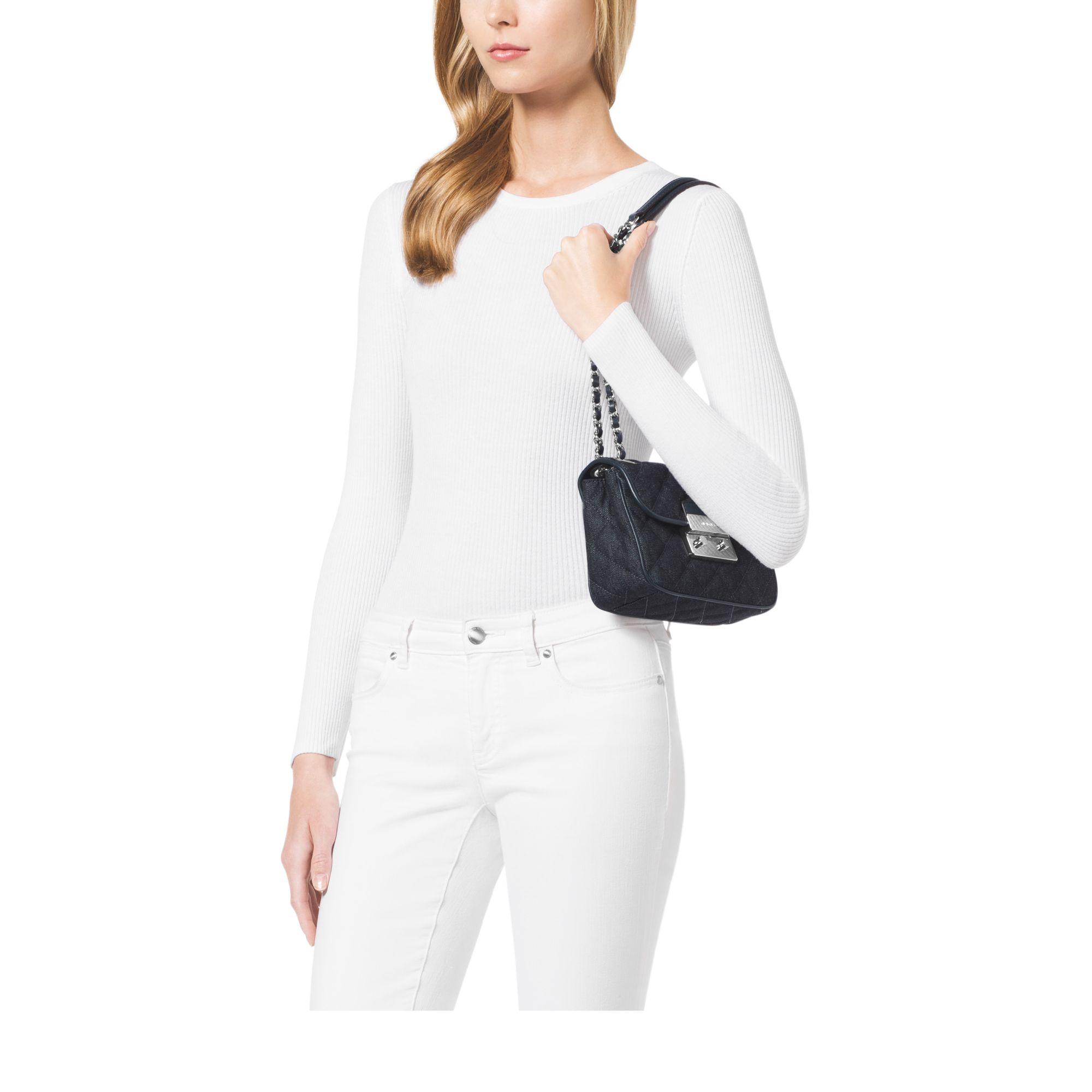 4e86d1b92ed1 Lyst - Michael Kors Sloan Small Quilted-denim Shoulder Bag in Blue