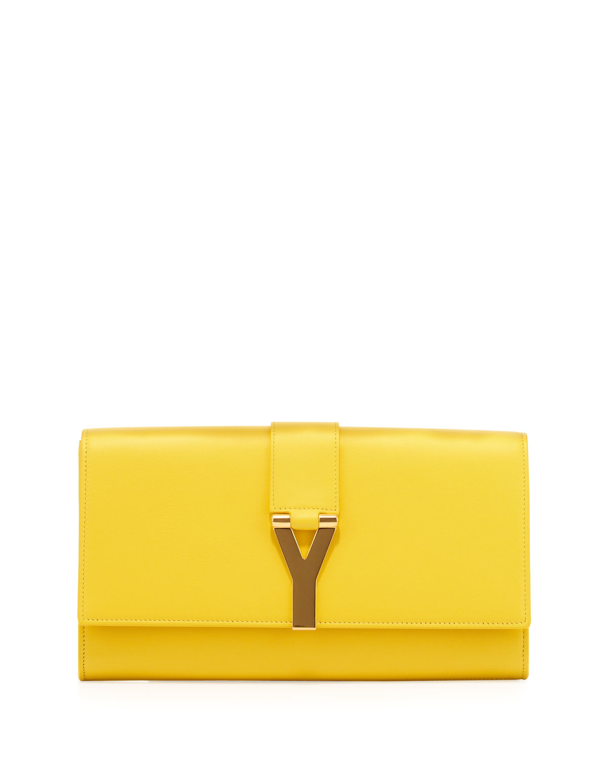 Lyst Saint Laurent Y Ligne Clutch Bag Yellow In Yellow