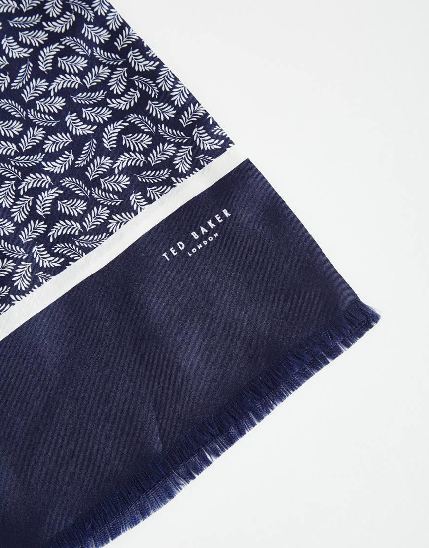 4ece2b1f3441 Lyst - Ted Baker Leaf Print Silk Scarf in Blue for Men