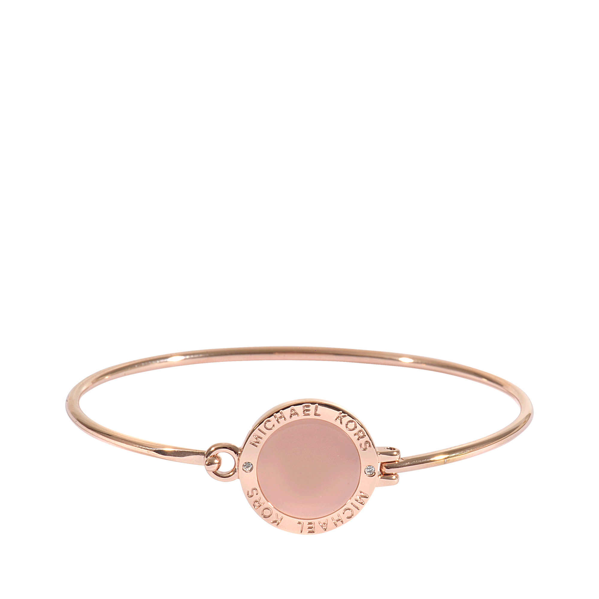 Lyst michael kors armband rose gold blush in metallic for Michael b jewelry death