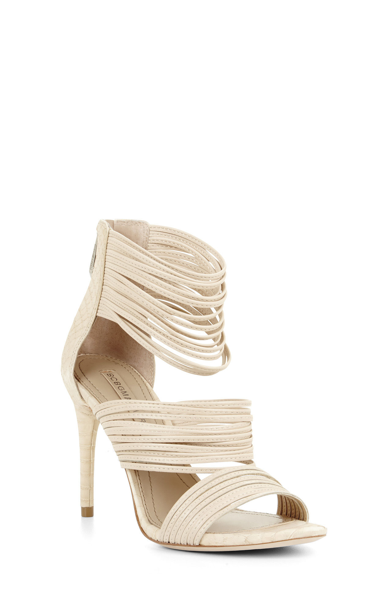 7fb0d1cc4cd Lyst - BCBGMAXAZRIA Pex High-heel Strappy Day Sandal in Natural