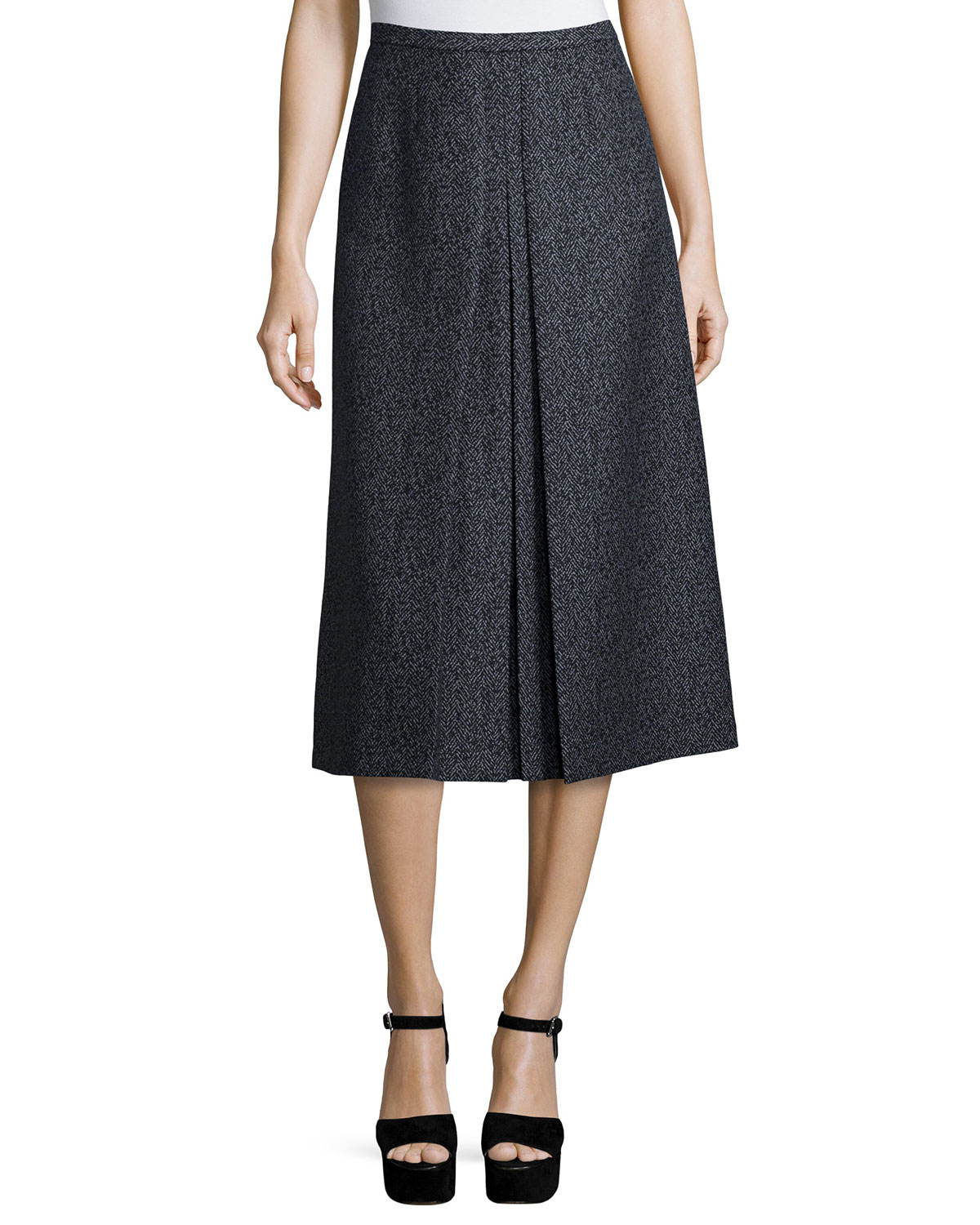 michael kors high waist a line skirt in black lyst