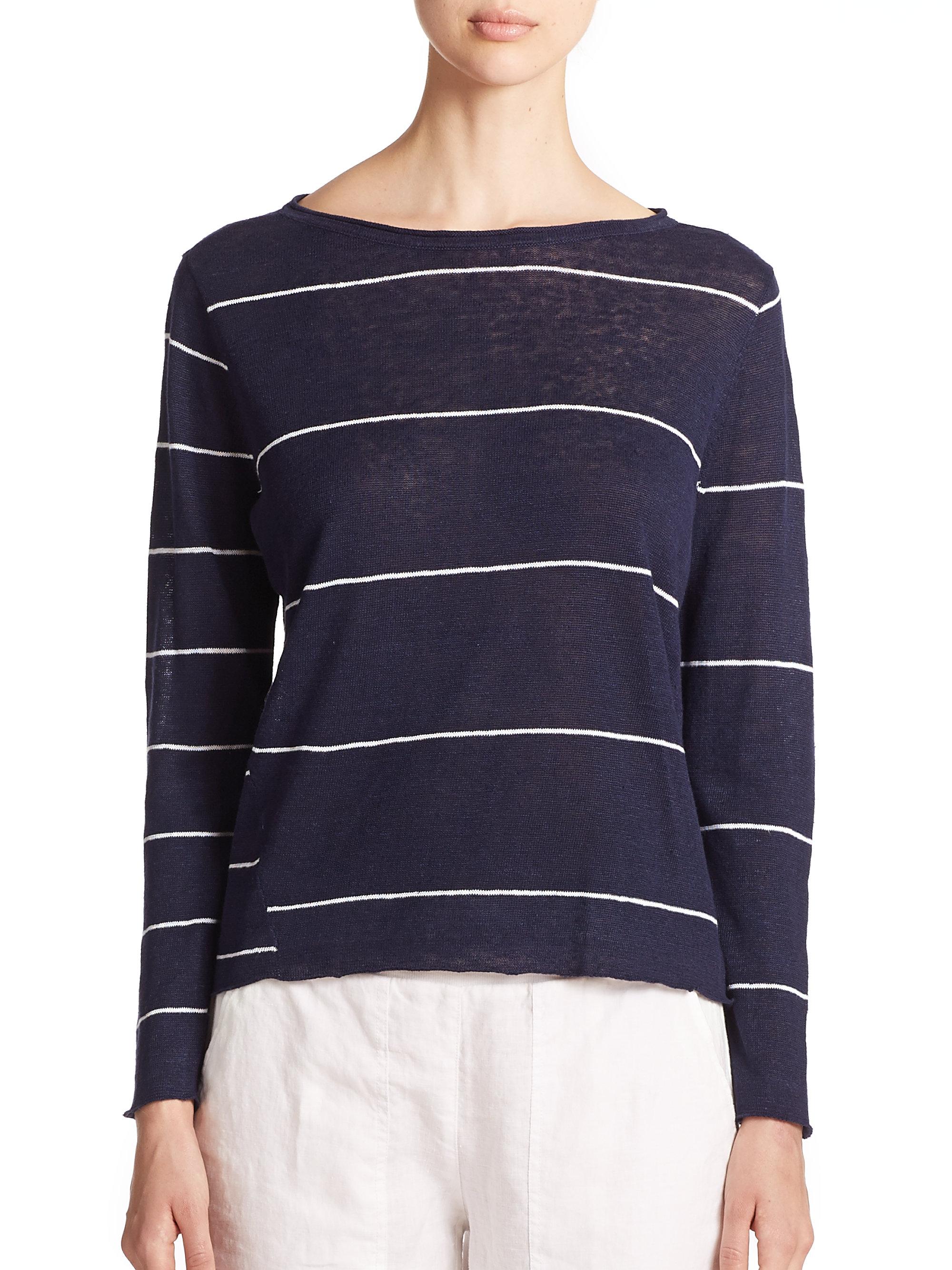 Lyst Eileen Fisher Linen Striped Top In Blue