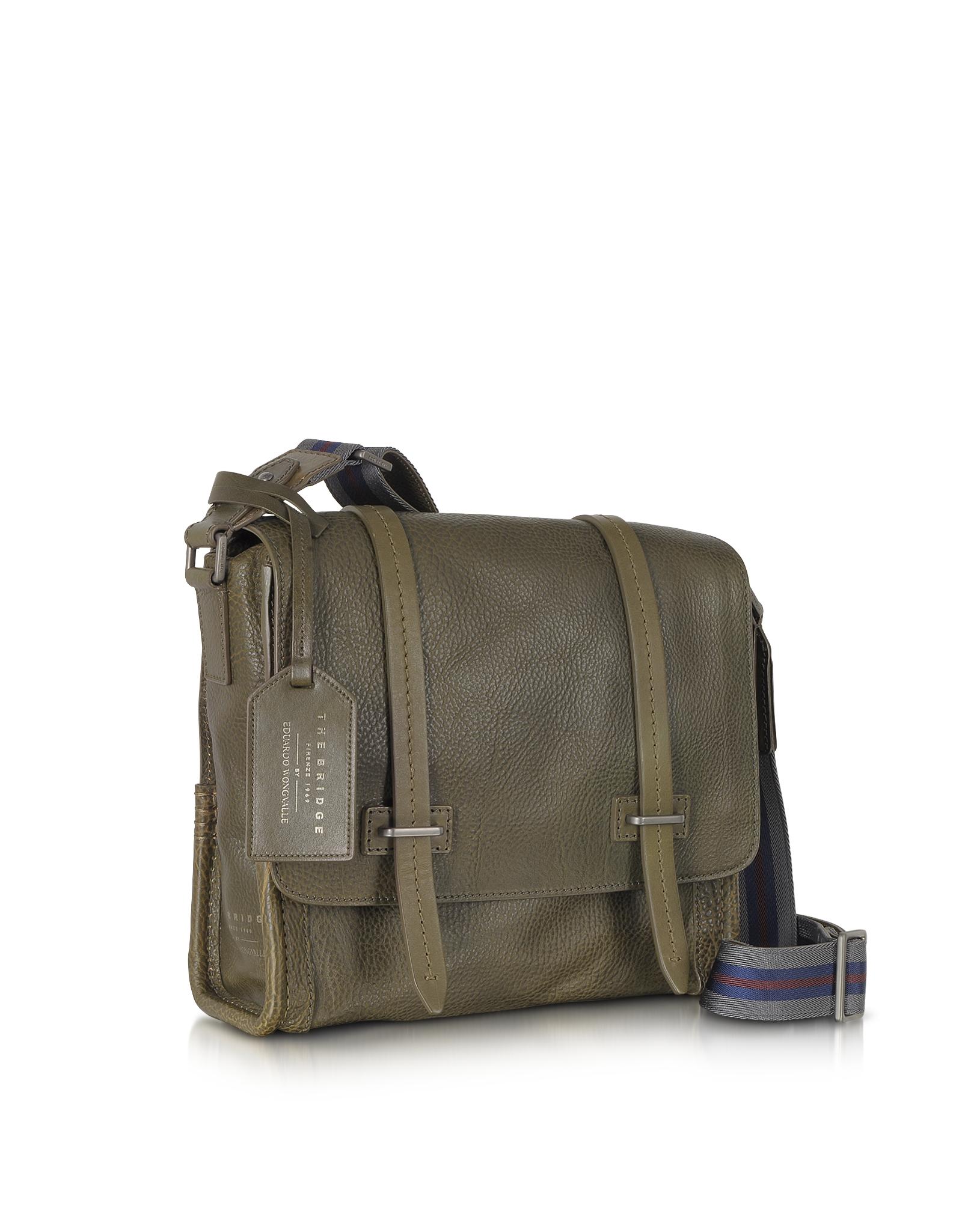 The bridge Ascott Leather Messenger Bag in Green for Men | Lyst